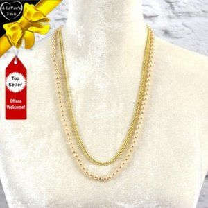 NEW Gold Link Chain and Pearl Necklace Set